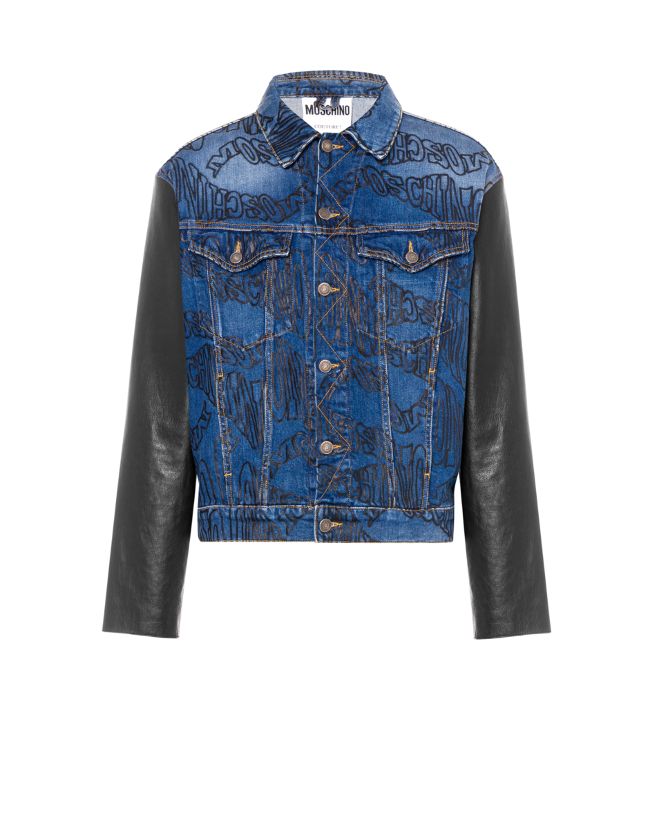 Moschino Men's Warped Logo Denim Jacket Blue MEN Men FASHION Mens JACKETS
