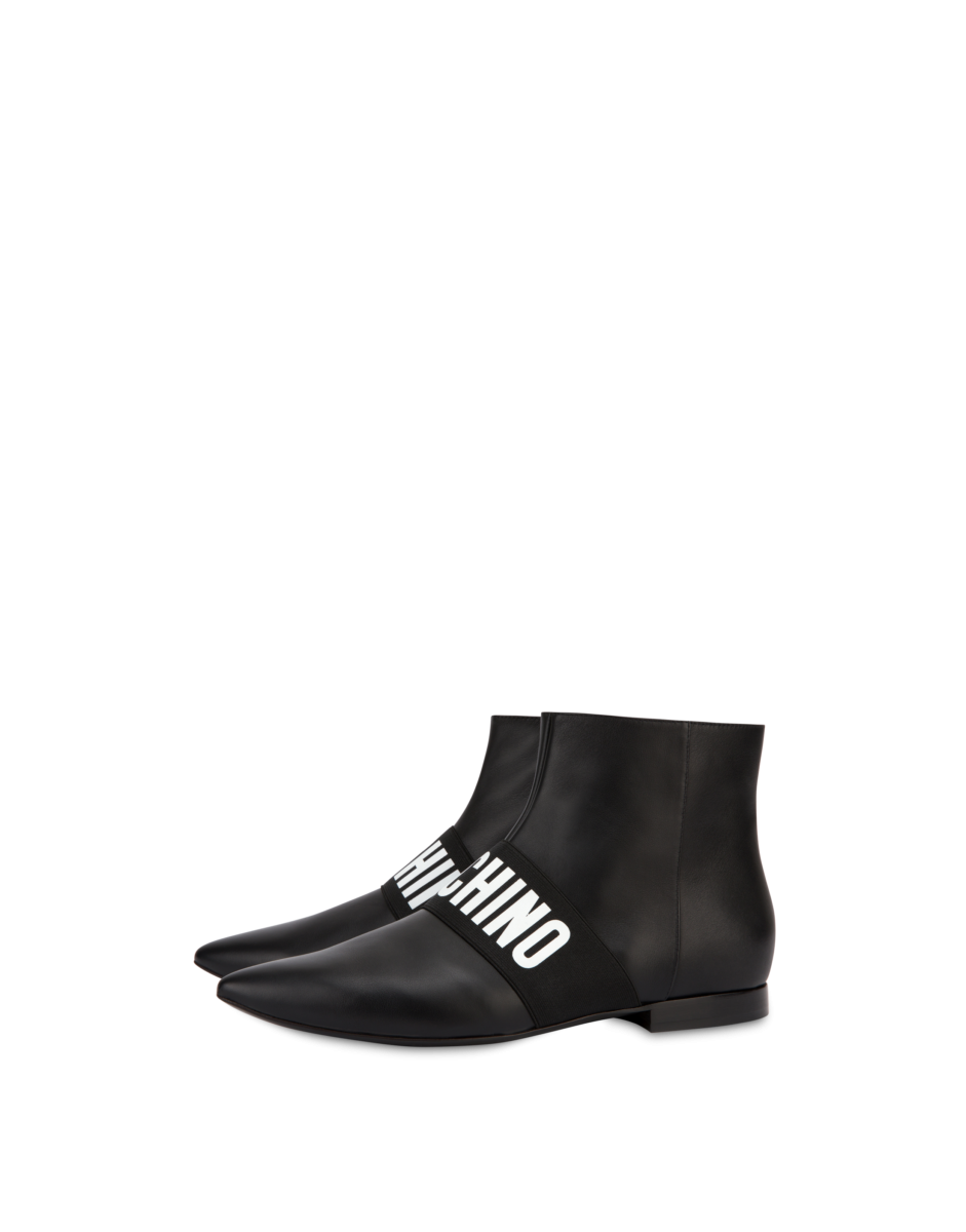 Moschino Women's Elastic Band Leather Ankle Black WOMEN Women SHOES Womens ANKLE BOOTS