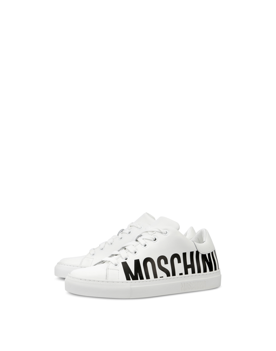 Moschino Women's Leather Sneakers With Maxi White WOMEN Women SHOES Womens SNEAKER