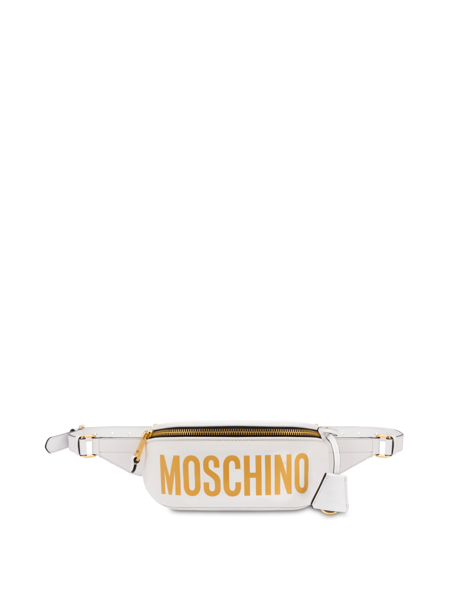 Moschino Women's Pouch With Laminated Logo White WOMEN Women ACCESSORIES Womens BAGS