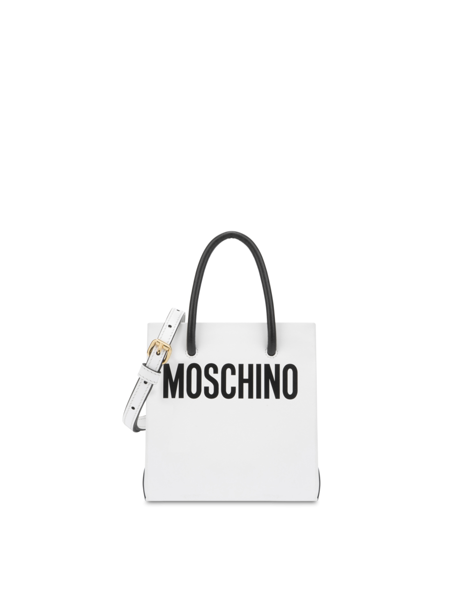 Moschino Women's Pvc Handbag With Logo White WOMEN Women ACCESSORIES Womens BAGS