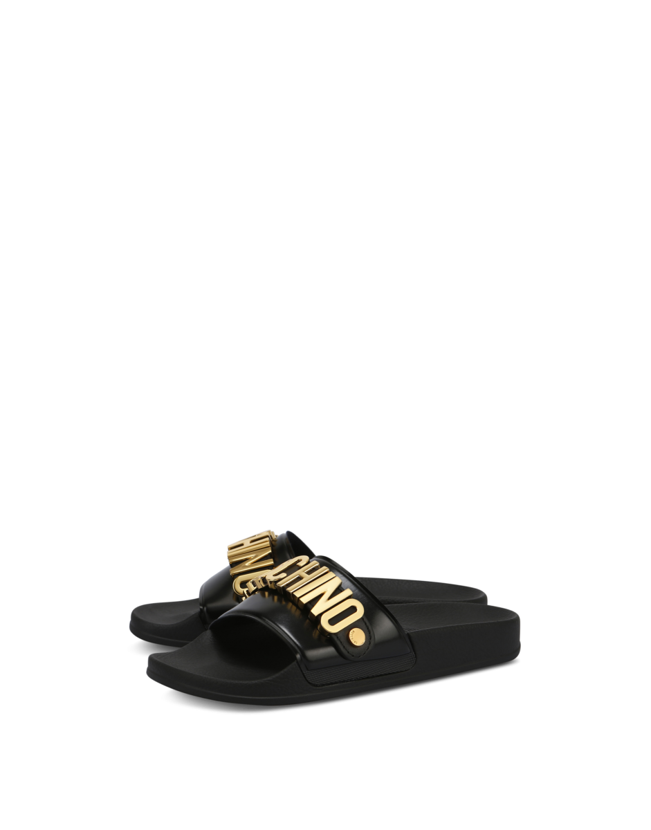Moschino Women's Pvc Slide Sandals With Black WOMEN Women SHOES Womens SANDALS