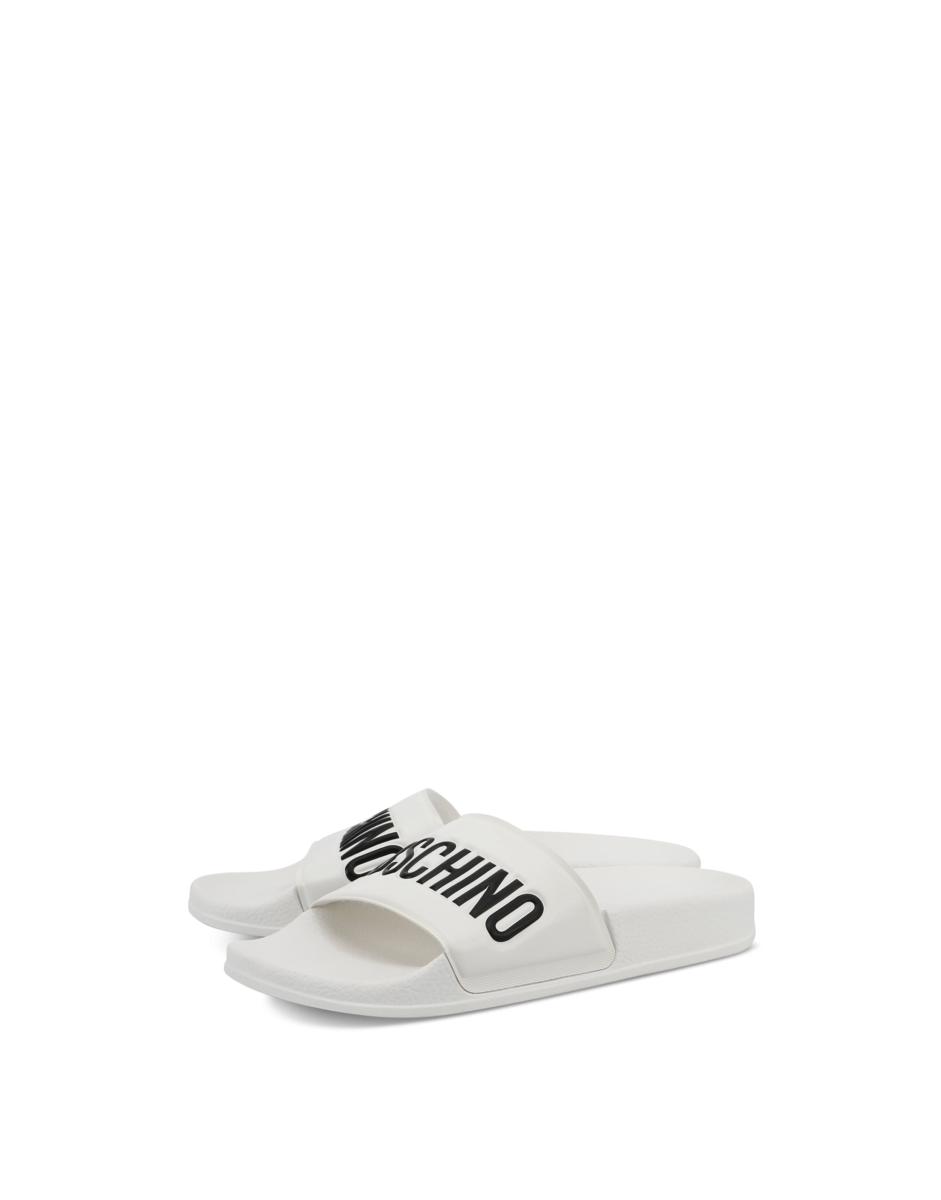 Moschino Women's Pvc Slide Sandals With White WOMEN Women SHOES Womens SANDALS