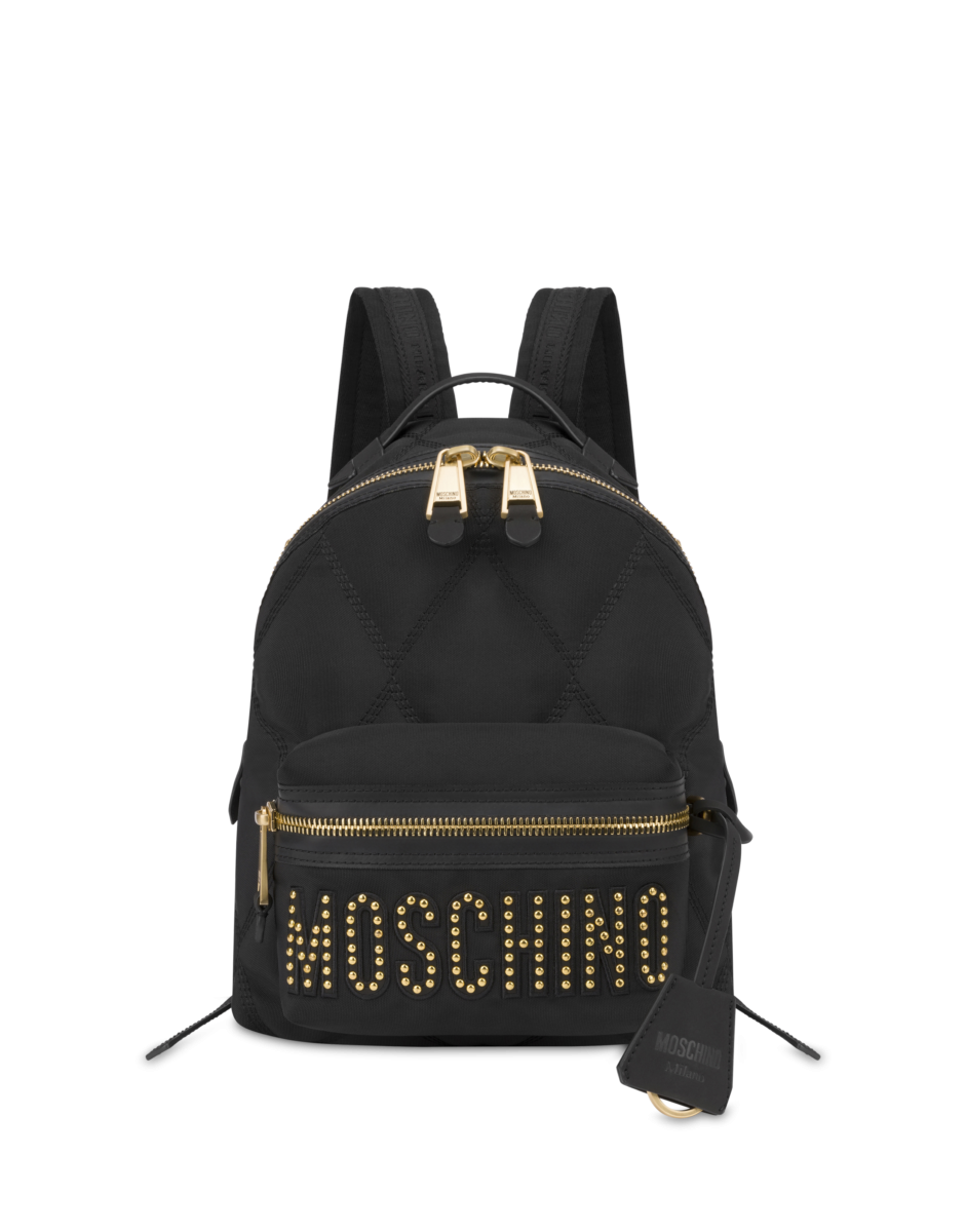 Moschino Women's Quilted Backpack With Studs Black WOMEN Women ACCESSORIES Womens BAGS