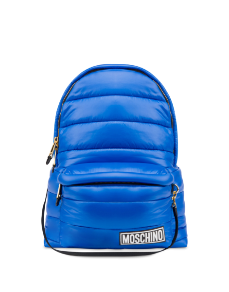 Moschino Women's Quilted Nylon Backpack With Blue WOMEN Women ACCESSORIES Womens BAGS