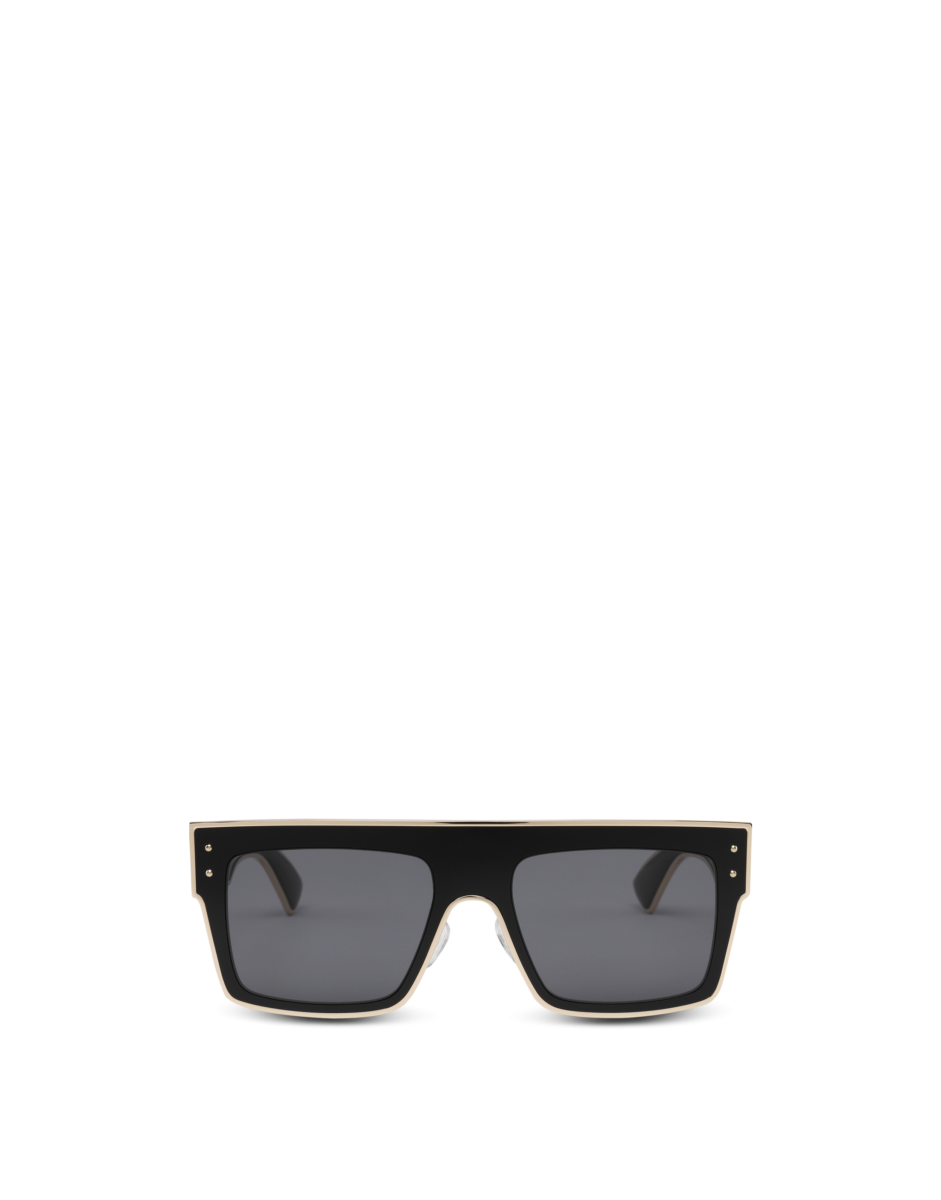 Moschino Women's Square Sunglasses With Gold Black WOMEN Women ACCESSORIES Womens SUNGLASSES