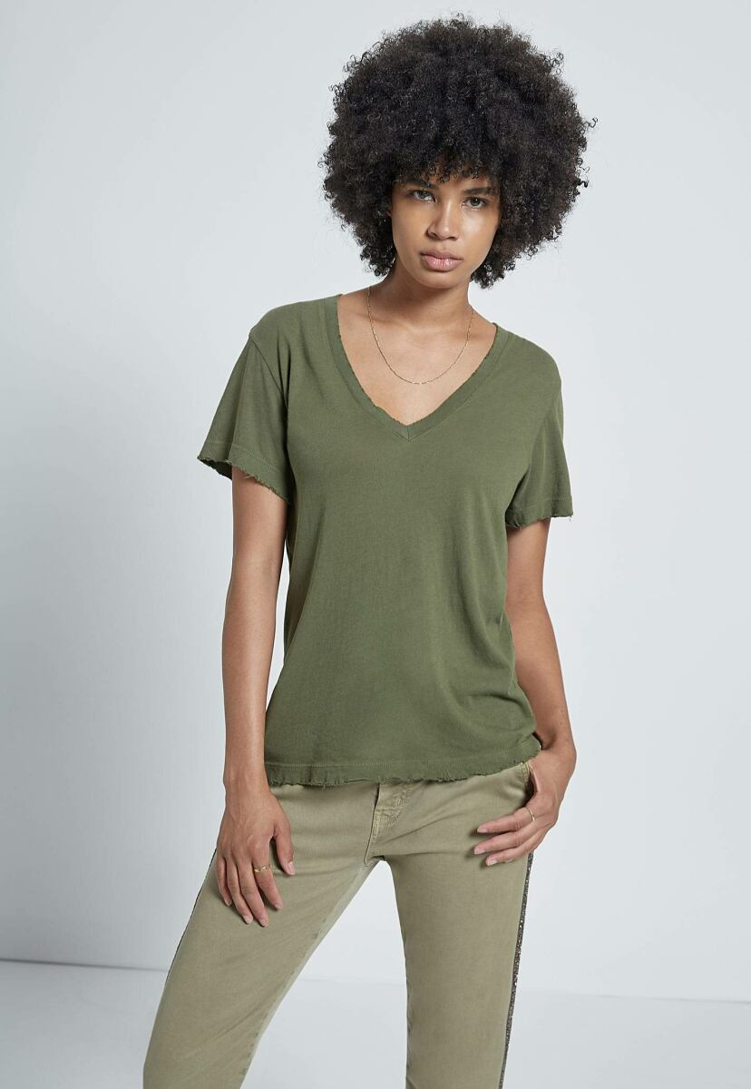 Women's Army Green With Destroy Perfect V Tee Current Elliott USA WOMEN Women FASHION Womens T-SHIRTS