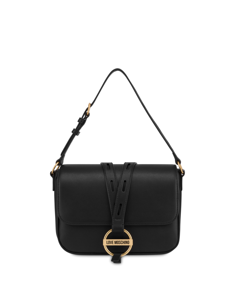 Love Moschino Women's Round Buckle Shoulder Bag Black WOMEN Women ACCESSORIES Womens BAGS