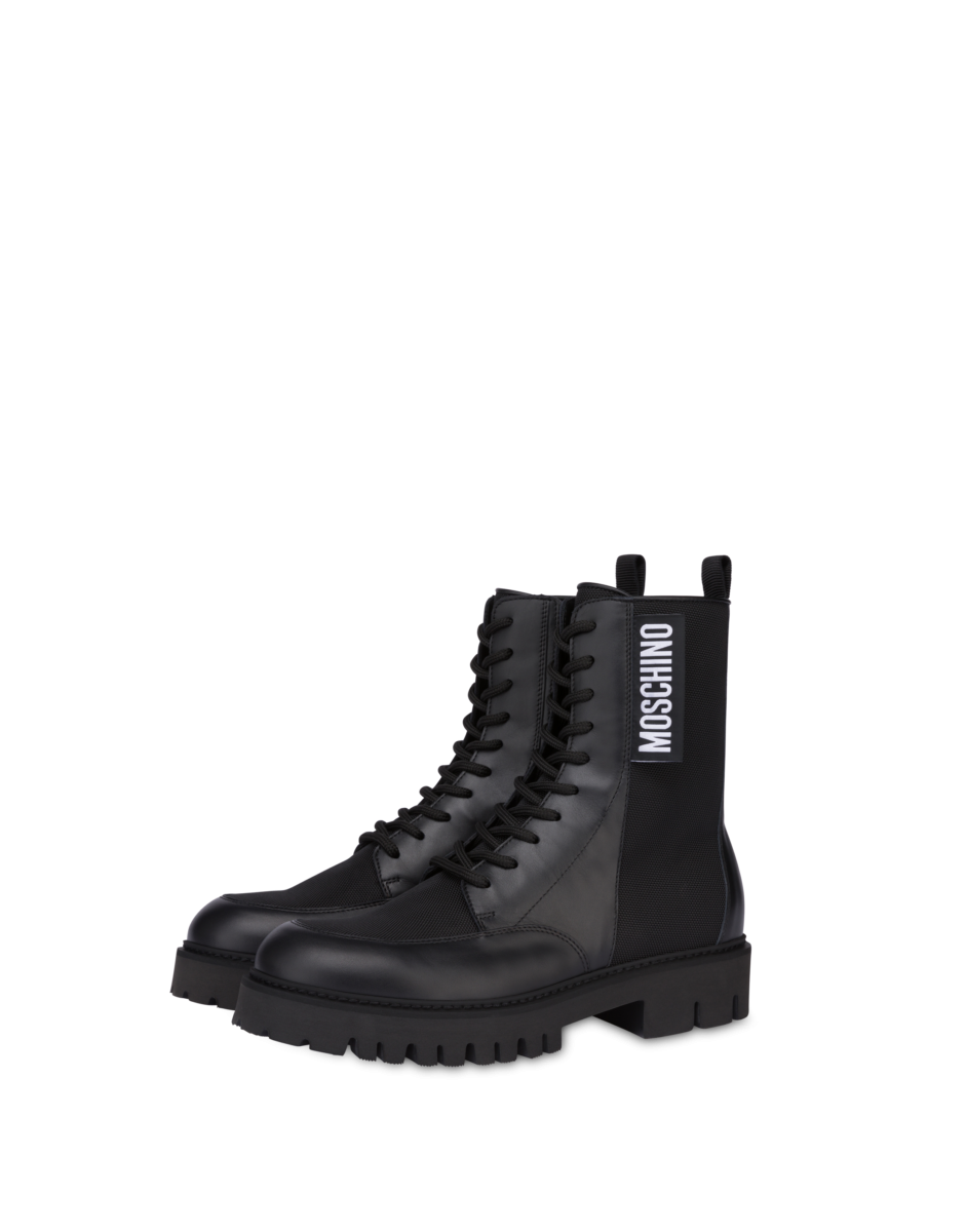 Moschino Men's Calfskin And Nylon Combat Black MEN Men SHOES Mens BOOTS