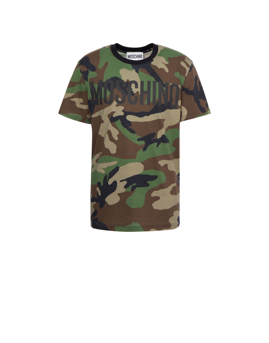 Moschino Men's Camouflage Jersey T-Shirt Green MEN Men FASHION Mens T-SHIRTS