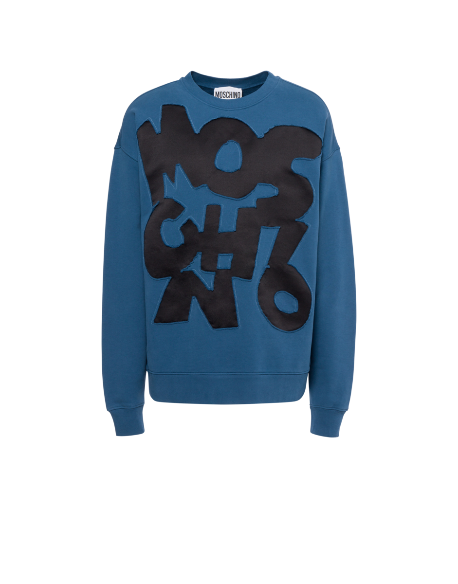 Moschino Men's Cut-Out Logo Cotton Sweatshirt Blue MEN Men FASHION Mens SWEATERS