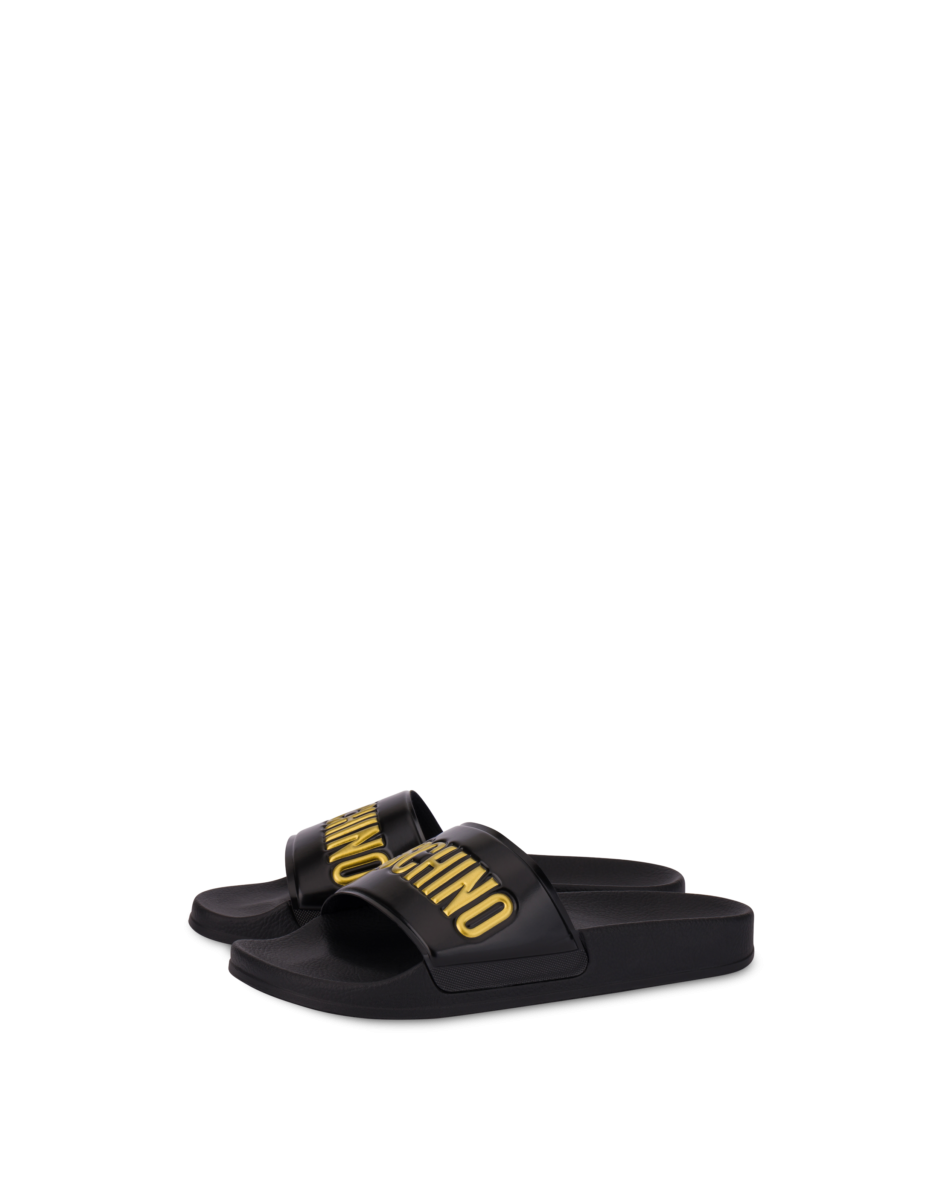Moschino Men's Gold Logo Pool Slides Black MEN Men SHOES Mens SLIPPERS