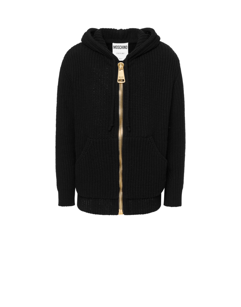 Moschino Men's Macro Zip Regenerated Cashmere Black MEN Men FASHION Mens KNITWEAR