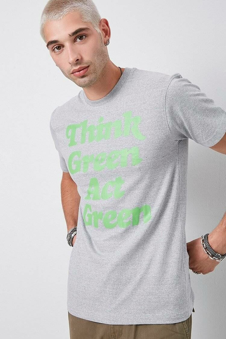 21Men Men's Think Green Act Green Graphic Tee in Heather Grey Forever 21 US MEN Men FASHION Mens T-SHIRTS