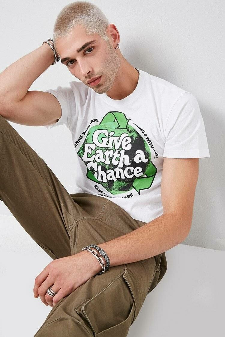Men's Give Earth a Chance Graphic Tee in White Forever 21 US 21Men MEN Men FASHION Mens T-SHIRTS